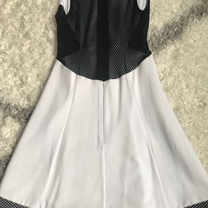NWOT Bebe white and black fit and flare dress